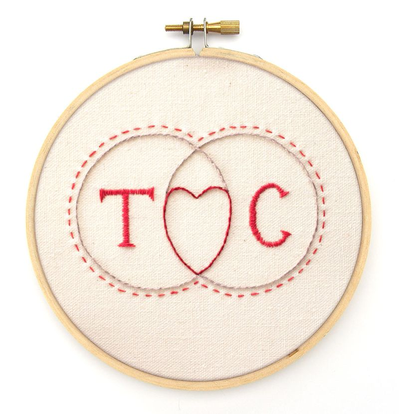 initials venn diagram with heart embroidery